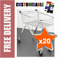 20 x 70 Litre Shallow Wire/Metal Supermarket Shopping Trolleys