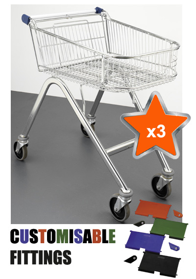 3 x 70 Litre Shallow Wire/Metal Supermarket Shopping Trolleys