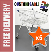5 x 70 Litre Shallow Wire/Metal Supermarket Shopping Trolleys