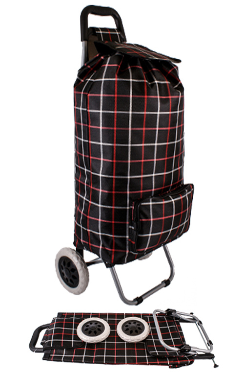 Alabama XL Capacity 2 Wheel Shopping Trolley with Front Pocket Black Check