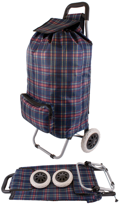 Alabama XL Capacity 2 Wheel Shopping Trolley with Front Pocket Navy Check