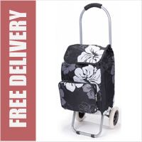 Arezzo Limited Edition Small Petite 2 Wheel Shopping Trolley with Front Pocket Black Floral Print