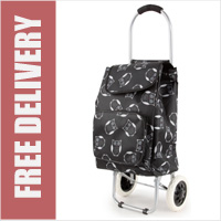 Arezzo Limited Edition Small Petite 2 Wheel Shopping Trolley with Front Pocket Black Owl Print
