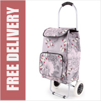 Arezzo Limited Edition Small Petite 2 Wheel Shopping Trolley with Front Pocket Pink Butterflies Print