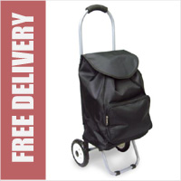 Arezzo Limited Edition Small Petite 2 Wheel Shopping Trolley with Front Pocket Plain Black