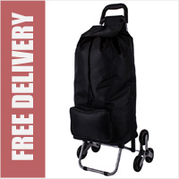 Arizona Stair Climber 6 Wheel Shopping Trolley with Large Front Pocket Black