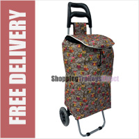 Limited Edition 2 Wheel Shopping Trolley Grey Owl Print