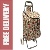 Limited Edition 2 Wheel Shopping Trolley Beige Owl Print