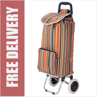 Benzi Toledo 2 Wheel Shopping Trolley with Large Front Pocket Stripy Brown Orange