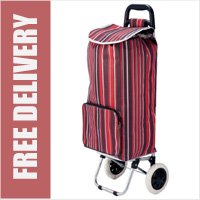 Benzi Toledo 2 Wheel Shopping Trolley with Large Front Pocket Stripy Pink Lilac