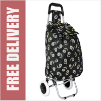 Limited Edition 2 Wheel Shopping Trolley Black Floral