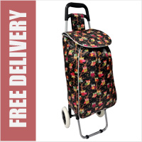 Limited Edition 2 Wheel Shopping Trolley Black Owl Print