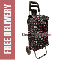 Limited Edition 2 Wheel Shopping Trolley Black with Exotic Butterflies Print
