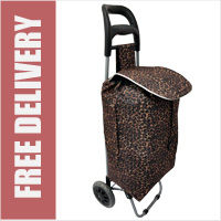 Limited Edition 2 Wheel Shopping Trolley Brown Leopard Print