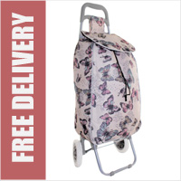Limited Edition 2 Wheel Shopping Trolley Baby Pink with Butterfly and Stars Print