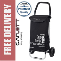 Carlett Lett201 Designer Look Folding 2 Wheel Shopping Trolley with Adjustable Handle Black