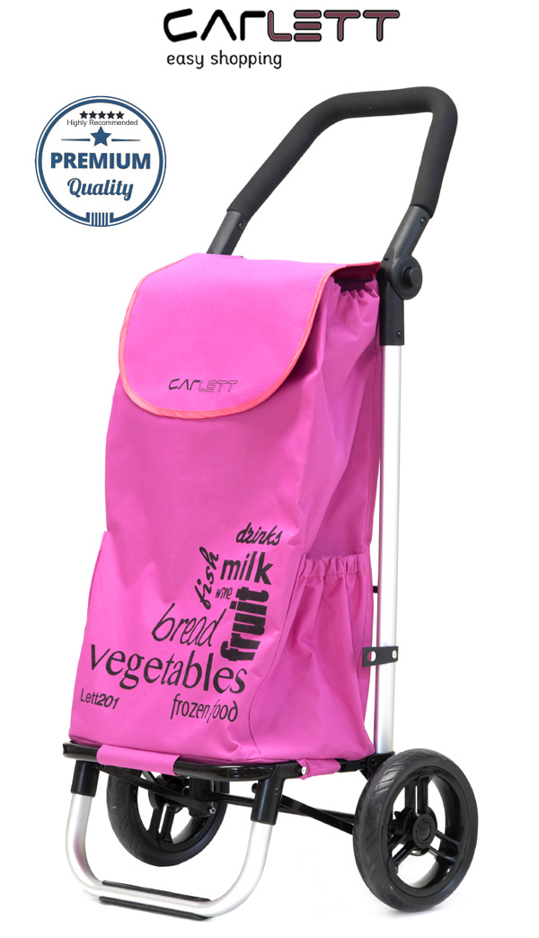 Carlett Lett201 Designer Look Folding 2 Wheel Shopping Trolley with Adjustable Handle Blueberry Pink