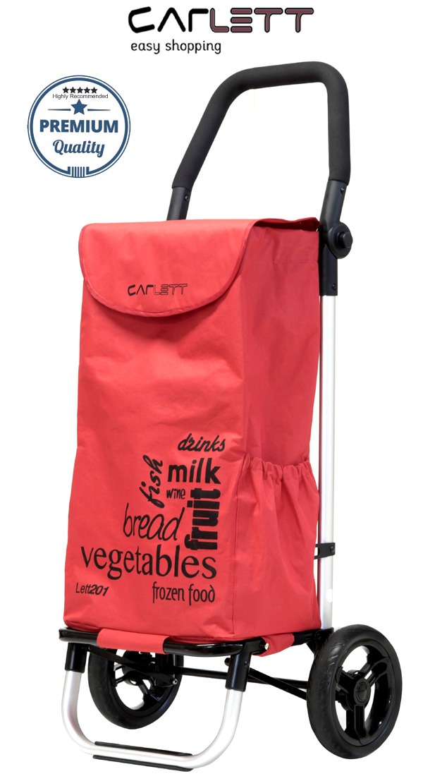 Carlett Lett201 Designer Look Folding 2 Wheel Shopping Trolley with Adjustable Handle Red Velvet