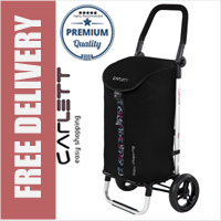 Carlett Lett201 Designer Look Folding 2 Wheel Shopping Trolley with Adjustable Handle Textured Black