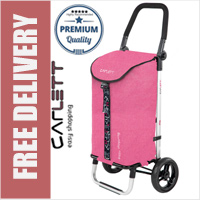 Carlett Lett201 Designer Look Folding 2 Wheel Shopping Trolley with Adjustable Handle Textured Pink
