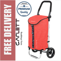 Carlett Lett201 Designer Look Folding 2 Wheel Shopping Trolley with Adjustable Handle Textured Red