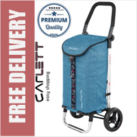 Carlett Lett201 Designer Look Folding 2 Wheel Shopping Trolley with Adjustable Handle Textured Turquoise