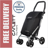 Carlett Lett430 Practical Deluxe Folding 6 Wheel Swivel Shopping Trolley with Park Brake Black