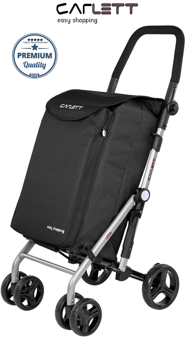 Carlett Lett430C Practical Deluxe Folding 6 Wheel Swivel Shopping Trolley with Park Brake and Isothermal Cooler Compartment Black