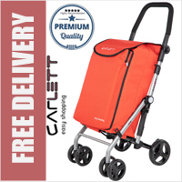 Carlett Lett430C Practical Deluxe Folding 6 Wheel Swivel Shopping Trolley with Park Brake and Isothermal Cooler Compartment Red