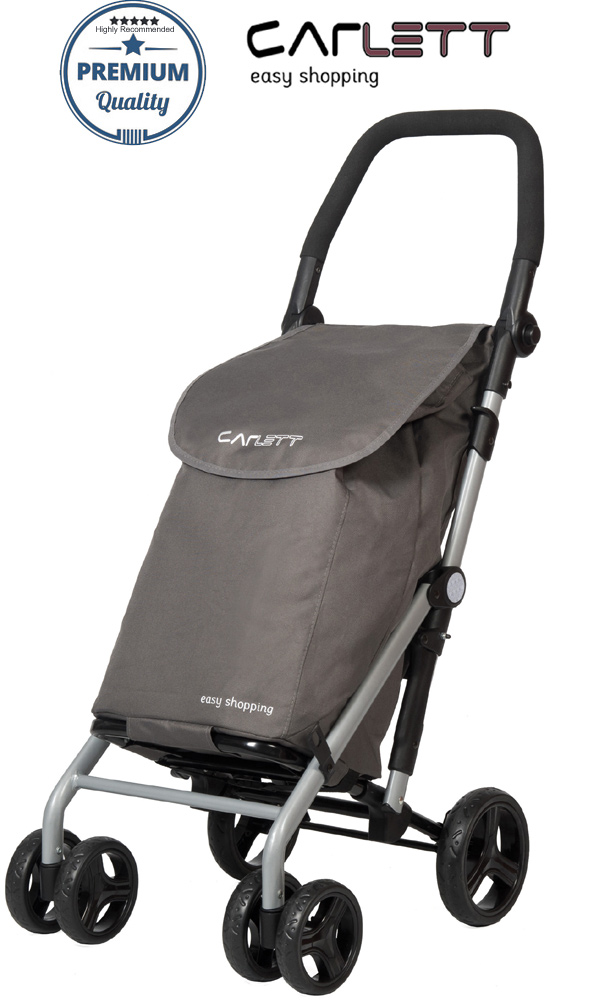 Carlett Lett430 Practical Deluxe Folding 6 Wheel Swivel Shopping Trolley with Park Brake Grey