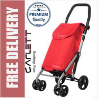 Carlett Lett430 Practical Deluxe Folding 6 Wheel Swivel Shopping Trolley with Park Brake Red