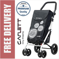 Carlett Lett440 Deluxe Folding 6 Wheel Swivel Shopping Trolley with Park Brake Black