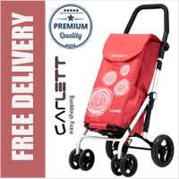 Carlett Lett440 Deluxe Folding 6 Wheel Swivel Shopping Trolley with Park Brake Red Velvet