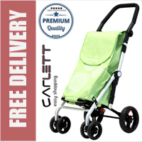 Carlett Lett440 Deluxe Folding 6 Wheel Swivel Shopping Trolley with Park Brake Star Fruit Yellow