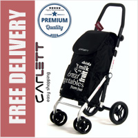 Carlett Lett450 Deluxe Folding 6 Wheel Swivel CONVERTIBLE Shopping Trolley with Park Brake Black
