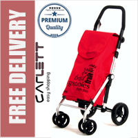Carlett Lett450 Deluxe Folding 6 Wheel Swivel CONVERTIBLE Shopping Trolley with Park Brake Red