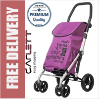 Carlett Lett450 Deluxe Folding 6 Wheel Swivel CONVERTIBLE Shopping Trolley with Park Brake Violet
