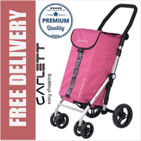 Carlett Lett450 Deluxe Folding 6 Wheel Swivel CONVERTIBLE Shopping Trolley with Park Brake Textured Pink