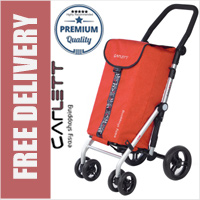 Carlett Lett450 Deluxe Folding 6 Wheel Swivel CONVERTIBLE Shopping Trolley with Park Brake Textured Red
