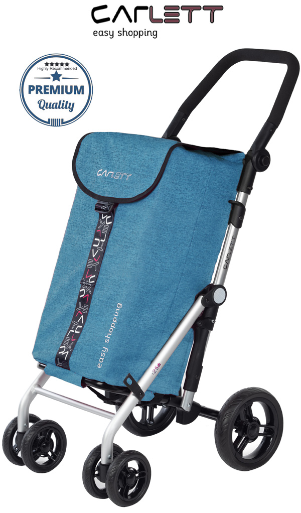 Carlett Lett450 Deluxe Folding 6 Wheel Swivel CONVERTIBLE Shopping Trolley with Park Brake Textured Turquoise