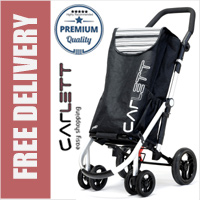 Carlett Lett460 Deluxe CONVERTIBLE Folding 6 Wheel Swivel Shopping Trolley with Park Brake and Anti-Roll Bar Black