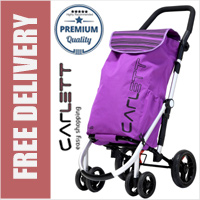 Carlett Lett460 Deluxe CONVERTIBLE Folding 6 Wheel Swivel Shopping Trolley with Park Brake and Anti-Roll Bar Blueberry Pink
