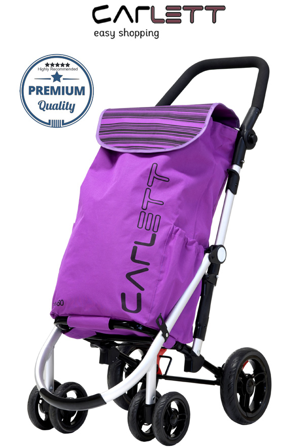 3e029a85376b Carlett Lett460 Deluxe CONVERTIBLE Folding 6 Wheel Swivel Shopping Trolley  with Park Brake and Anti-Roll Bar Blueberry Pink