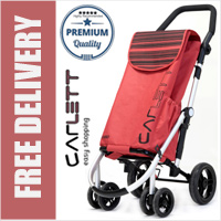 Carlett Lett460 Deluxe CONVERTIBLE Folding 6 Wheel Swivel Shopping Trolley with Isothermal Pocket Park Brake and Anti-Roll Bar Red