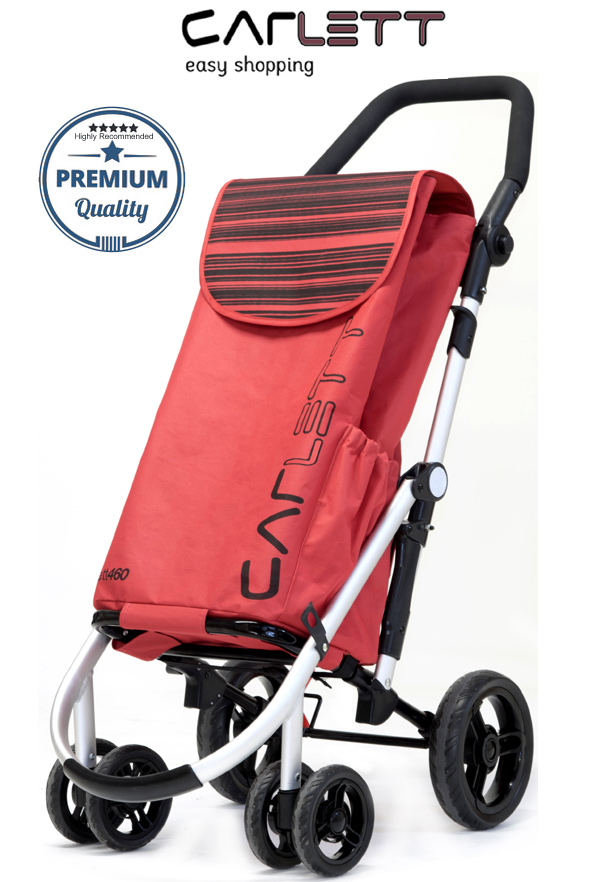 Carlett Lett460 Deluxe CONVERTIBLE Folding 6 Wheel Swivel Shopping Trolley with Park Brake and Anti-Roll Bar Red