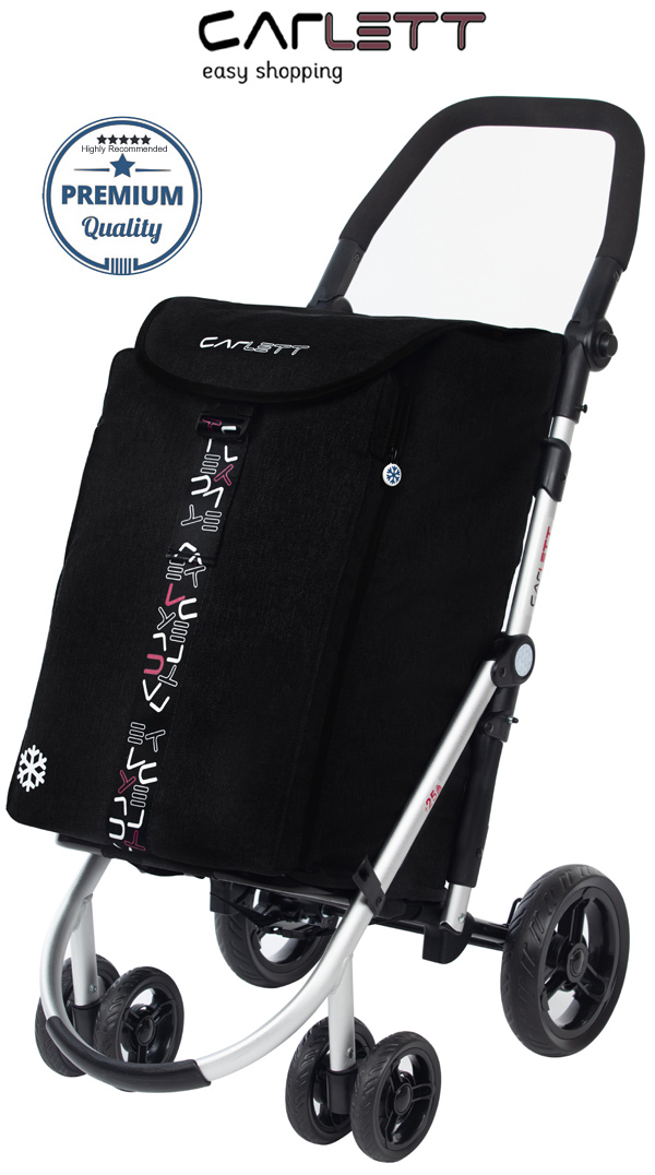 Carlett Lett460 Deluxe CONVERTIBLE Folding 6 Wheel Swivel Shopping Trolley with Park Brake and Anti-Roll Bar Textured Black