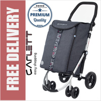 Carlett Lett460 Deluxe CONVERTIBLE Folding 6 Wheel Swivel Shopping Trolley with Park Brake and Anti-Roll Bar Textured Grey