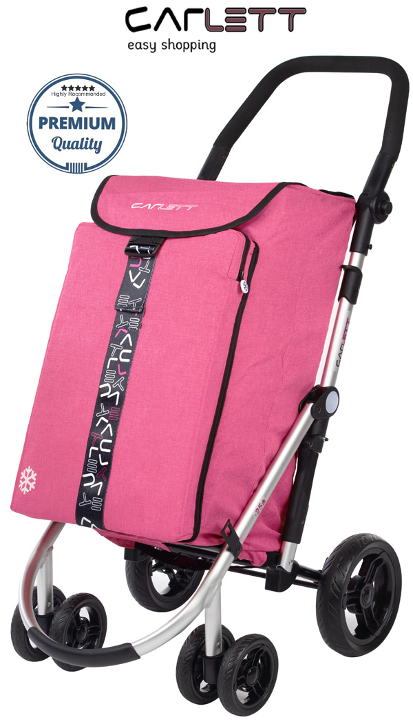 Carlett Lett460 Deluxe CONVERTIBLE Folding 6 Wheel Swivel Shopping Trolley with Park Brake and Anti-Roll Bar Textured Pink