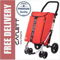 Carlett Lett460 Deluxe CONVERTIBLE Folding 6 Wheel Swivel Shopping Trolley with Park Brake and Anti-Roll Bar Textured Red