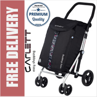 Carlett Lett470 Deluxe XL Capacity CONVERTIBLE Folding 6 Wheel Swivel Shopping Trolley with Park Brake Black